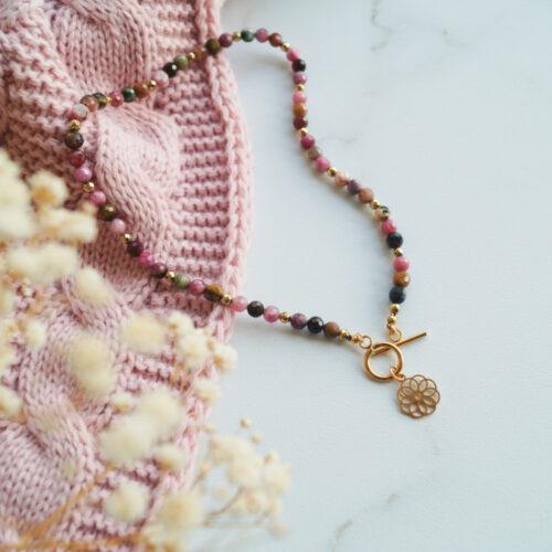 naszyjnik z turmalinu w kolorach jesieni